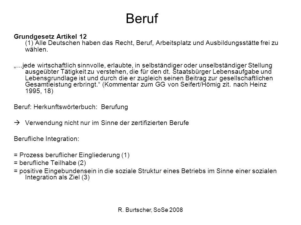 R. Burtscher, SoSe 2008 Beruf Grundgesetz Artikel 12 (1) Alle Deutschen haben das Recht, Beruf, Arbeitsplatz und Ausbildungsstätte frei zu wählen. …je