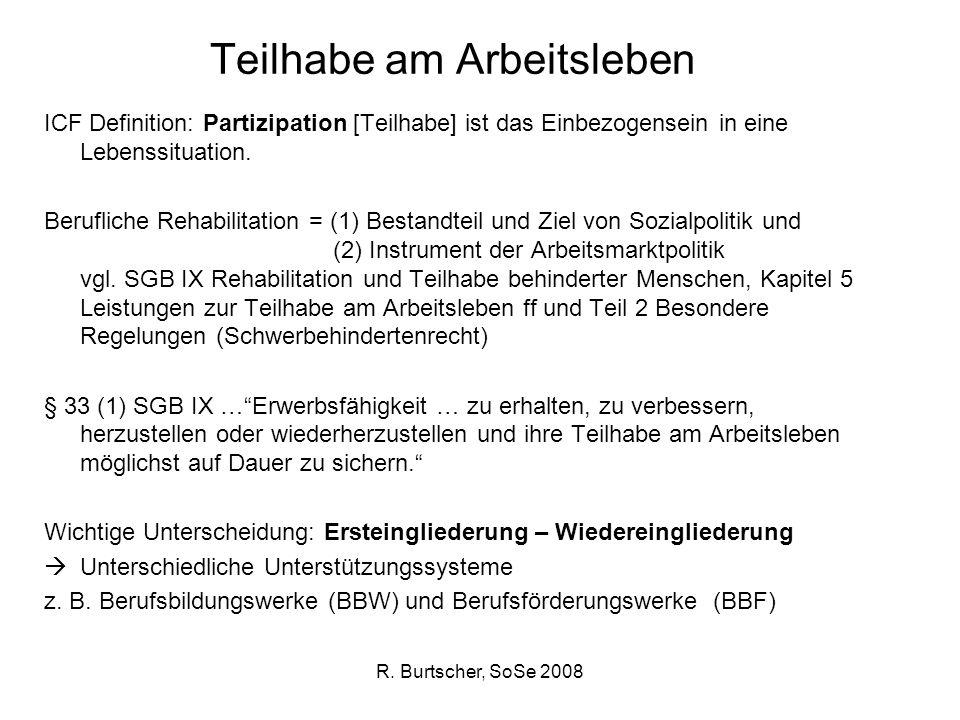 R. Burtscher, SoSe 2008 Teilhabe am Arbeitsleben ICF Definition: Partizipation [Teilhabe] ist das Einbezogensein in eine Lebenssituation. Berufliche R
