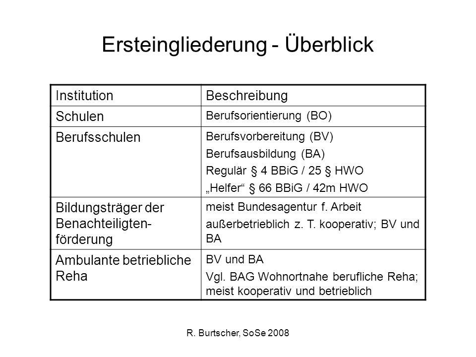 R. Burtscher, SoSe 2008 Ersteingliederung - Überblick InstitutionBeschreibung Schulen Berufsorientierung (BO) Berufsschulen Berufsvorbereitung (BV) Be