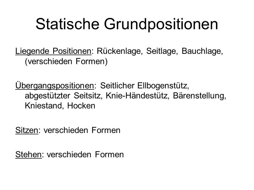Statische Grundpositionen Liegende Positionen: Rückenlage, Seitlage, Bauchlage, (verschieden Formen) Übergangspositionen: Seitlicher Ellbogenstütz, ab
