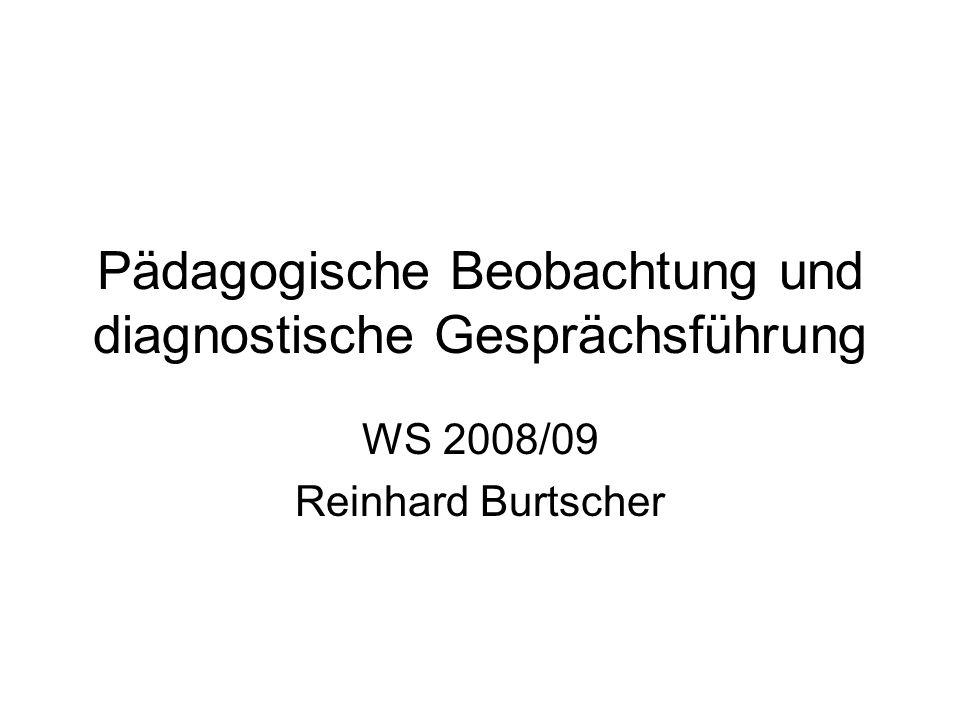 Pädagogische Beobachtung und diagnostische Gesprächsführung WS 2008/09 Reinhard Burtscher
