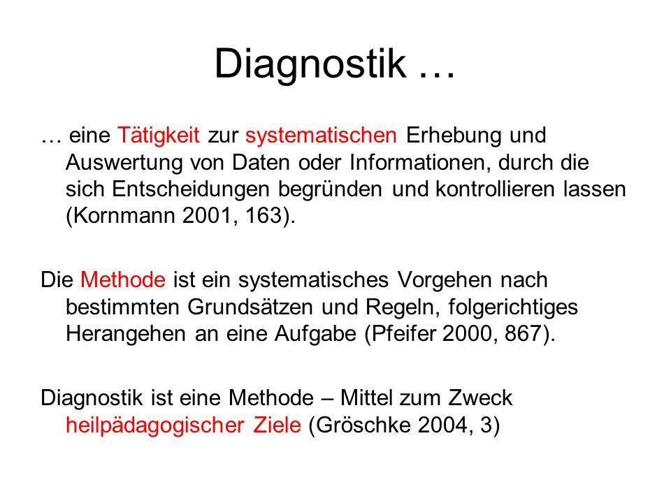 Diagnostik … … eine Tätigkeit zur systematischen Erhebung und Auswertung von Daten oder Informationen, durch die sich Entscheidungen begründen und kontrollieren lassen (Kornmann 2001, 163).