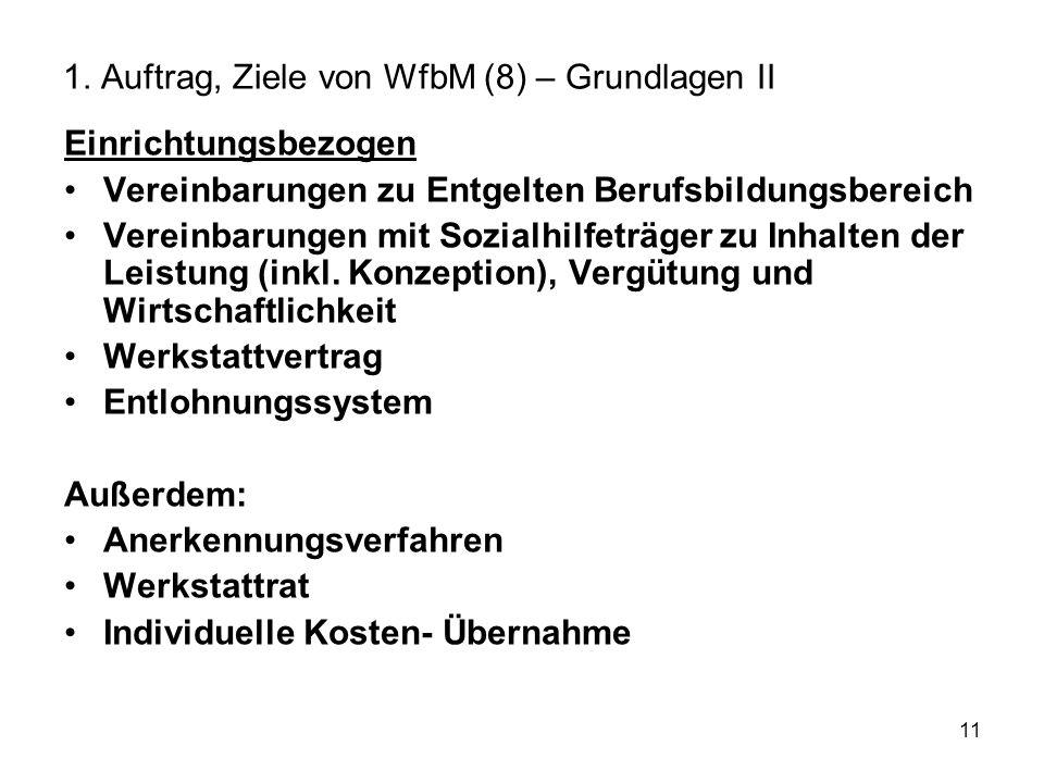 11 1. Auftrag, Ziele von WfbM (8) – Grundlagen II Einrichtungsbezogen Vereinbarungen zu Entgelten Berufsbildungsbereich Vereinbarungen mit Sozialhilfe