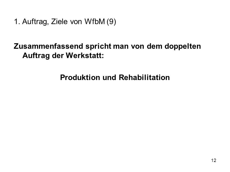 12 1. Auftrag, Ziele von WfbM (9) Zusammenfassend spricht man von dem doppelten Auftrag der Werkstatt: Produktion und Rehabilitation