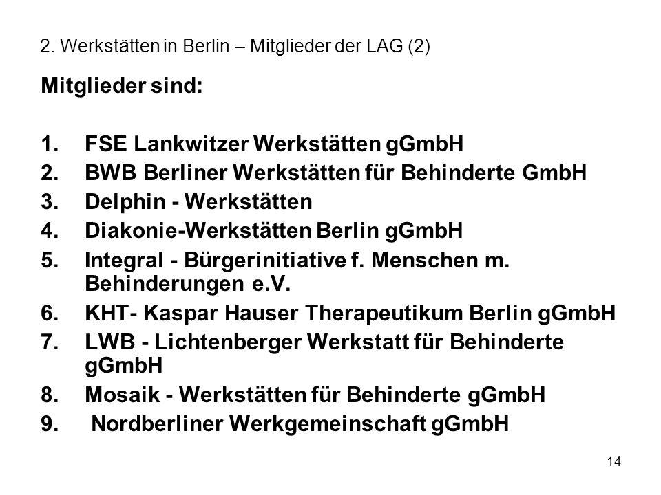 14 2. Werkstätten in Berlin – Mitglieder der LAG (2) Mitglieder sind: 1.FSE Lankwitzer Werkstätten gGmbH 2.BWB Berliner Werkstätten für Behinderte Gmb