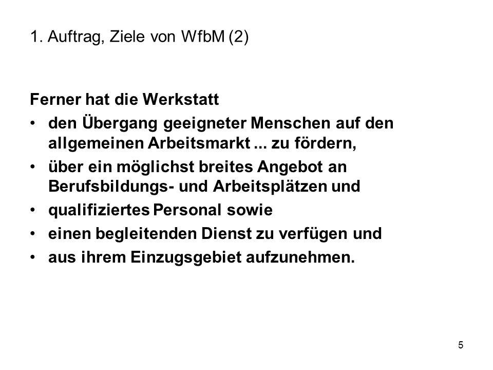 5 1. Auftrag, Ziele von WfbM (2) Ferner hat die Werkstatt den Übergang geeigneter Menschen auf den allgemeinen Arbeitsmarkt... zu fördern, über ein mö