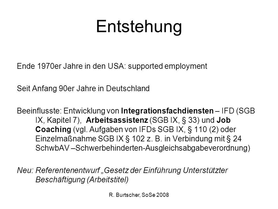 R. Burtscher, SoSe 2008 Entstehung Ende 1970er Jahre in den USA: supported employment Seit Anfang 90er Jahre in Deutschland Beeinflusste: Entwicklung