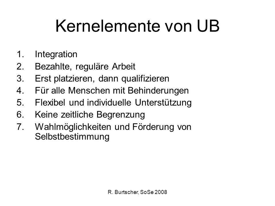 R. Burtscher, SoSe 2008 Kernelemente von UB 1.Integration 2.Bezahlte, reguläre Arbeit 3.Erst platzieren, dann qualifizieren 4.Für alle Menschen mit Be