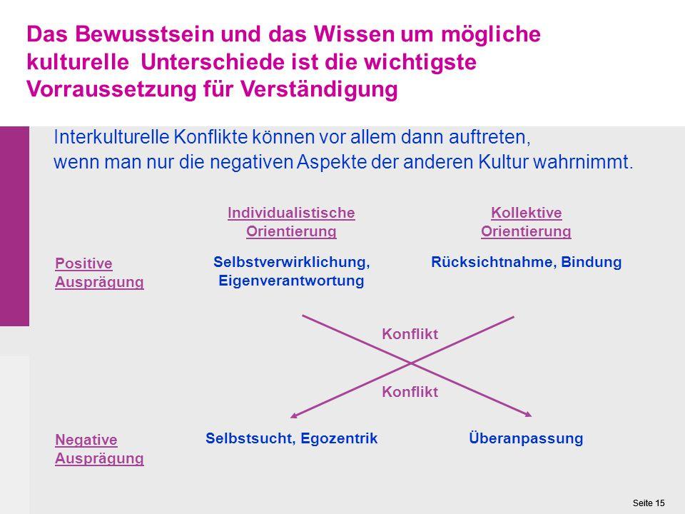 Seite 15 Interkulturelle Konflikte können vor allem dann auftreten, wenn man nur die negativen Aspekte der anderen Kultur wahrnimmt.