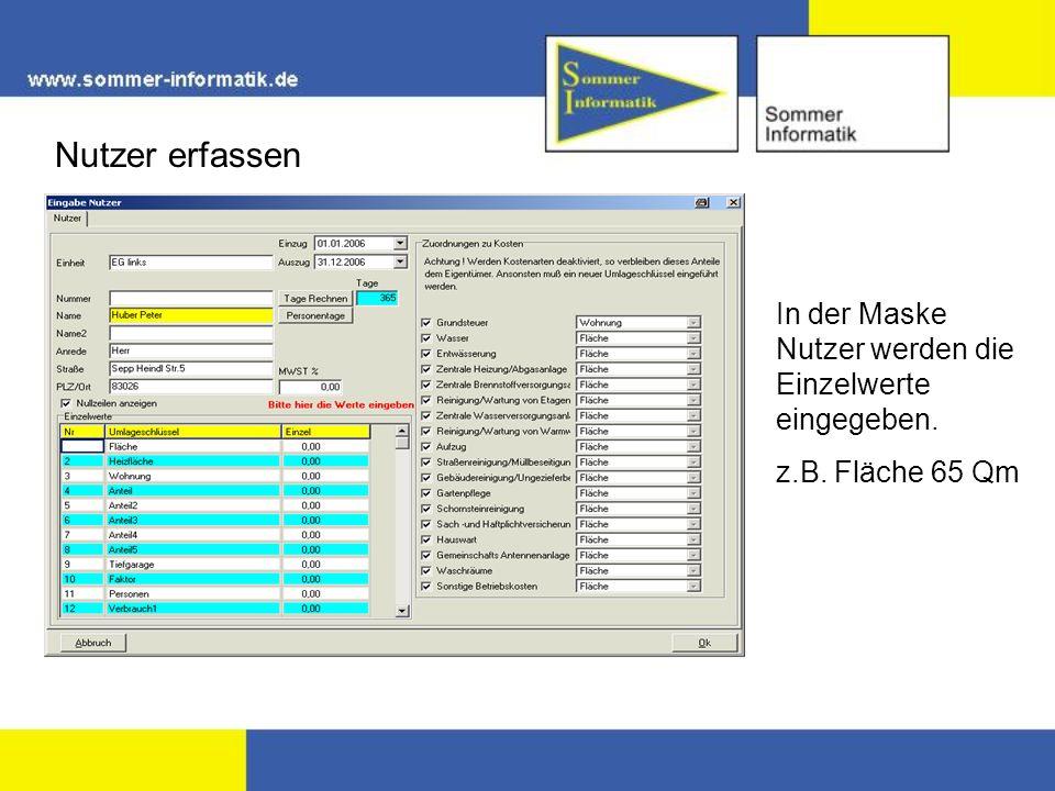 Nutzer erfassen In der Maske Nutzer werden die Einzelwerte eingegeben. z.B. Fläche 65 Qm