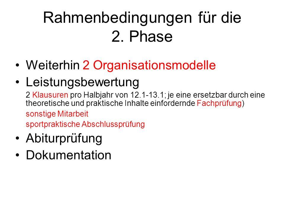 Rahmenbedingungen für die 2.
