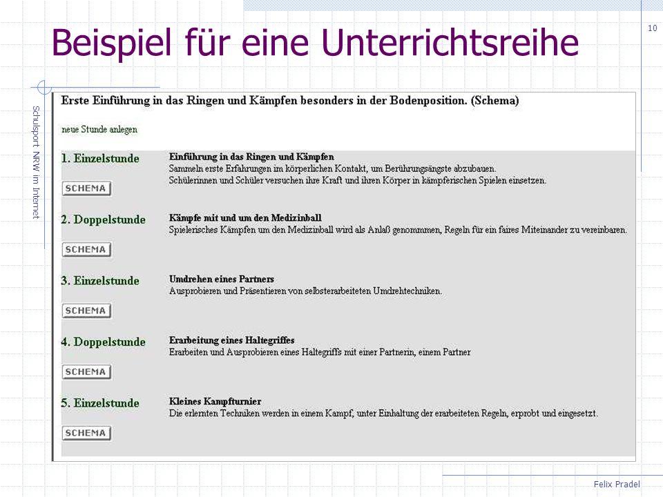 Felix Pradel Schulsport NRW im Internet 10 Beispiel für eine Unterrichtsreihe