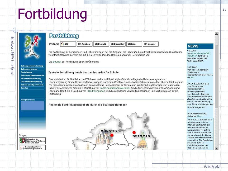 Felix Pradel Schulsport NRW im Internet 11 Fortbildung