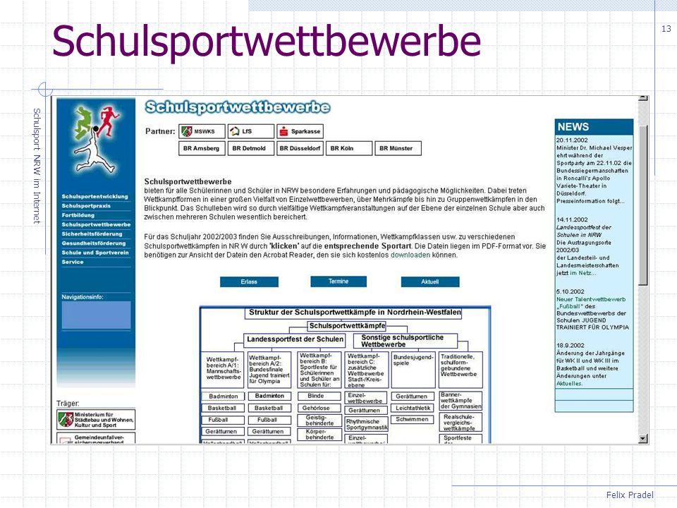 Felix Pradel Schulsport NRW im Internet 13 Schulsportwettbewerbe