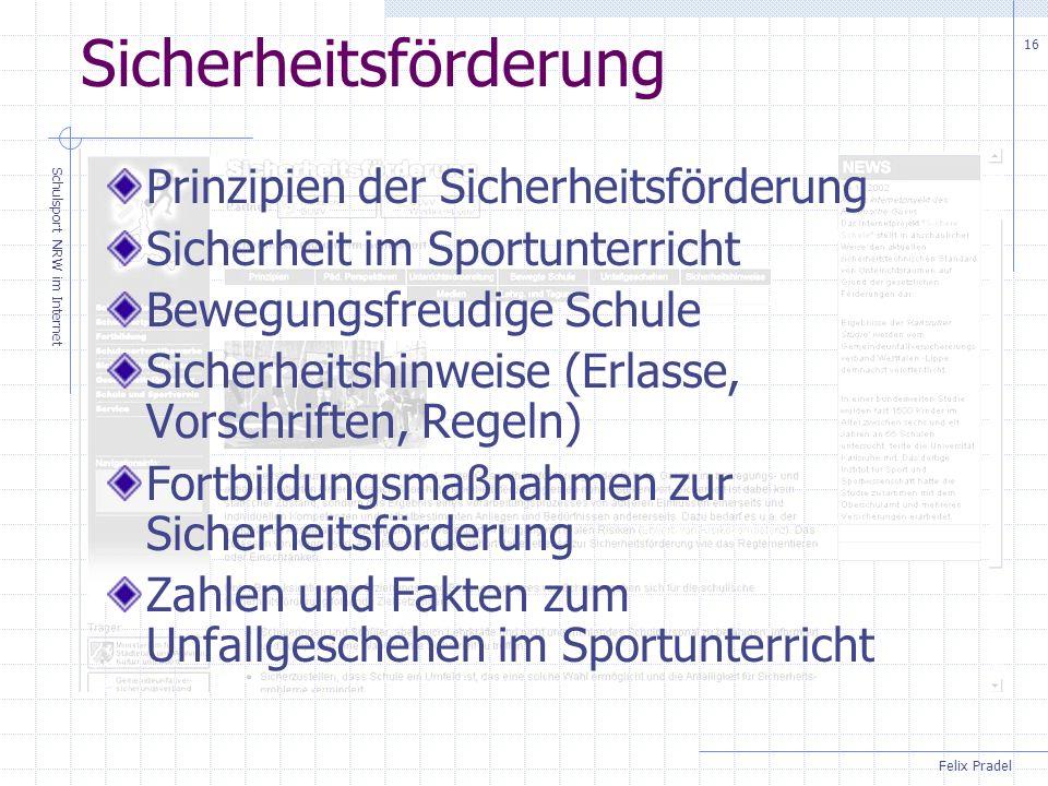 Felix Pradel Schulsport NRW im Internet 16 Sicherheitsförderung Prinzipien der Sicherheitsförderung Sicherheit im Sportunterricht Bewegungsfreudige Schule Sicherheitshinweise (Erlasse, Vorschriften, Regeln) Fortbildungsmaßnahmen zur Sicherheitsförderung Zahlen und Fakten zum Unfallgeschehen im Sportunterricht