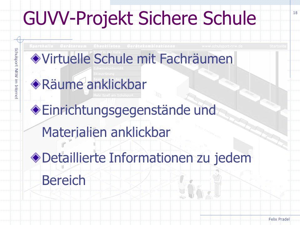 Felix Pradel Schulsport NRW im Internet 18 GUVV-Projekt Sichere Schule Virtuelle Schule mit Fachräumen Räume anklickbar Einrichtungsgegenstände und Materialien anklickbar Detaillierte Informationen zu jedem Bereich