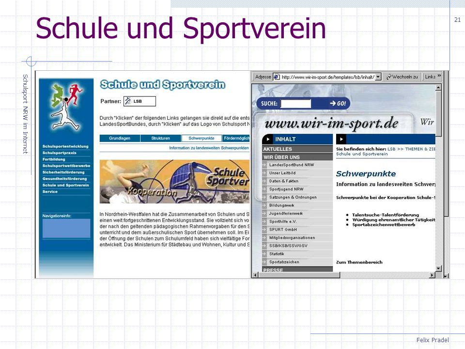 Felix Pradel Schulsport NRW im Internet 21 Schule und Sportverein