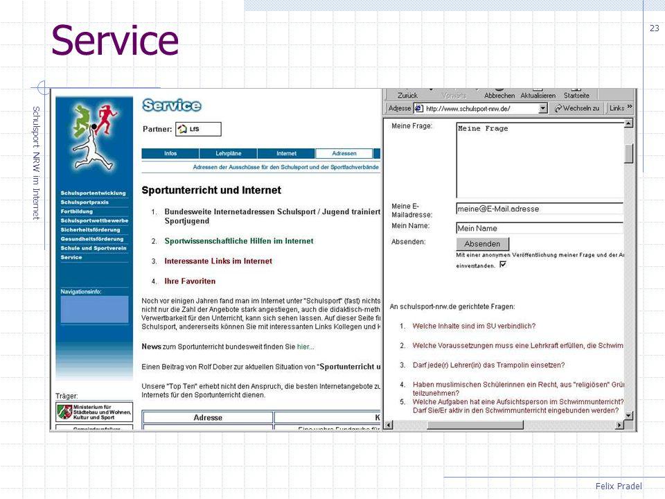 Felix Pradel Schulsport NRW im Internet 23 Service