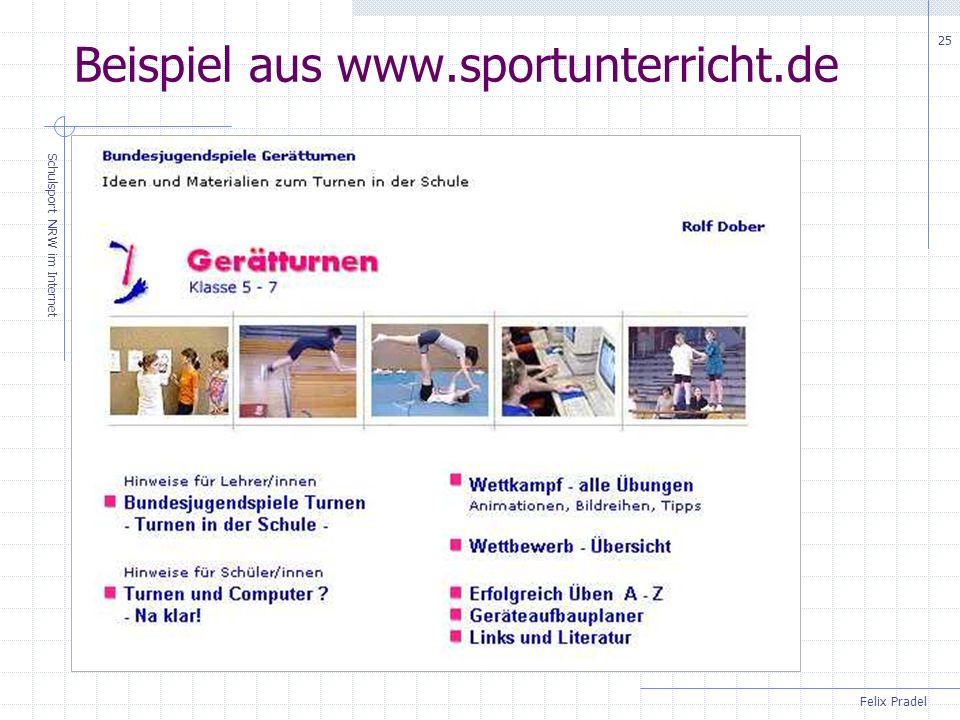 Felix Pradel Schulsport NRW im Internet 25 Beispiel aus www.sportunterricht.de