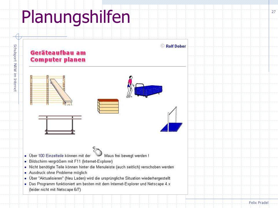 Felix Pradel Schulsport NRW im Internet 27 Planungshilfen