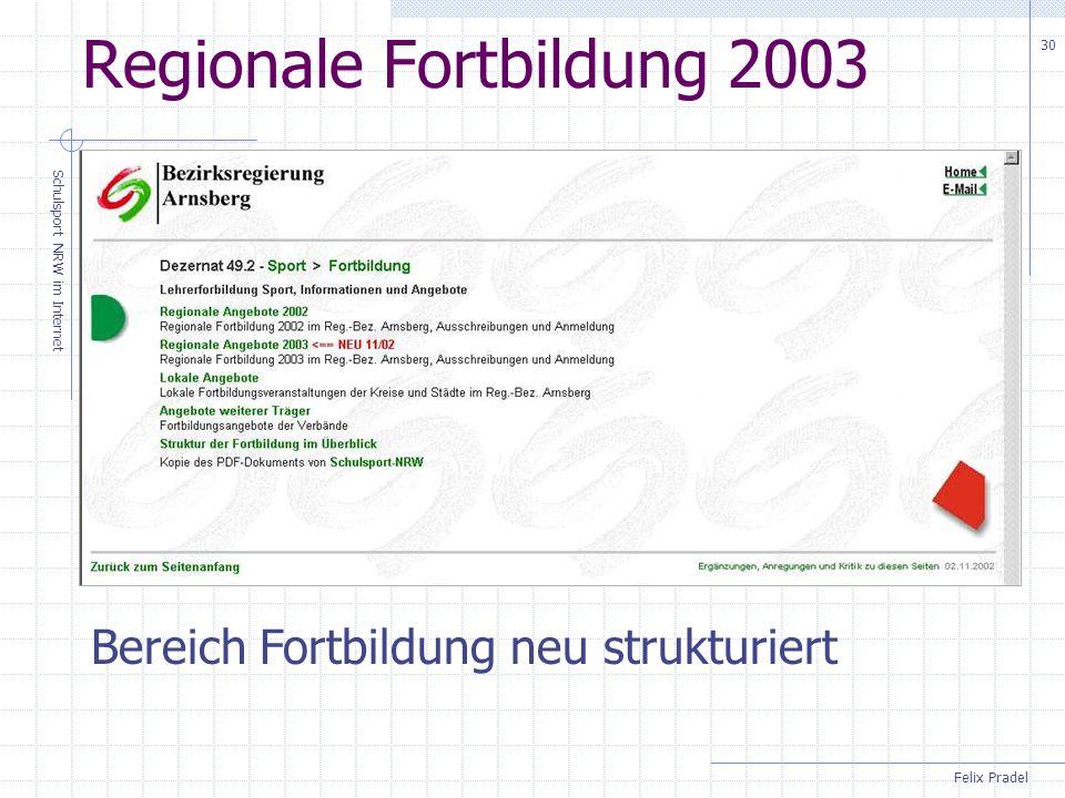 Felix Pradel Schulsport NRW im Internet 30 Regionale Fortbildung 2003 Bereich Fortbildung neu strukturiert