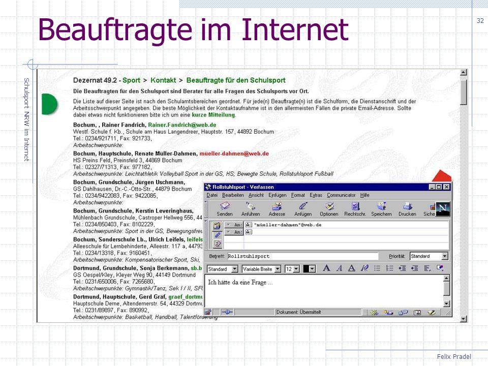 Felix Pradel Schulsport NRW im Internet 32 Beauftragte im Internet