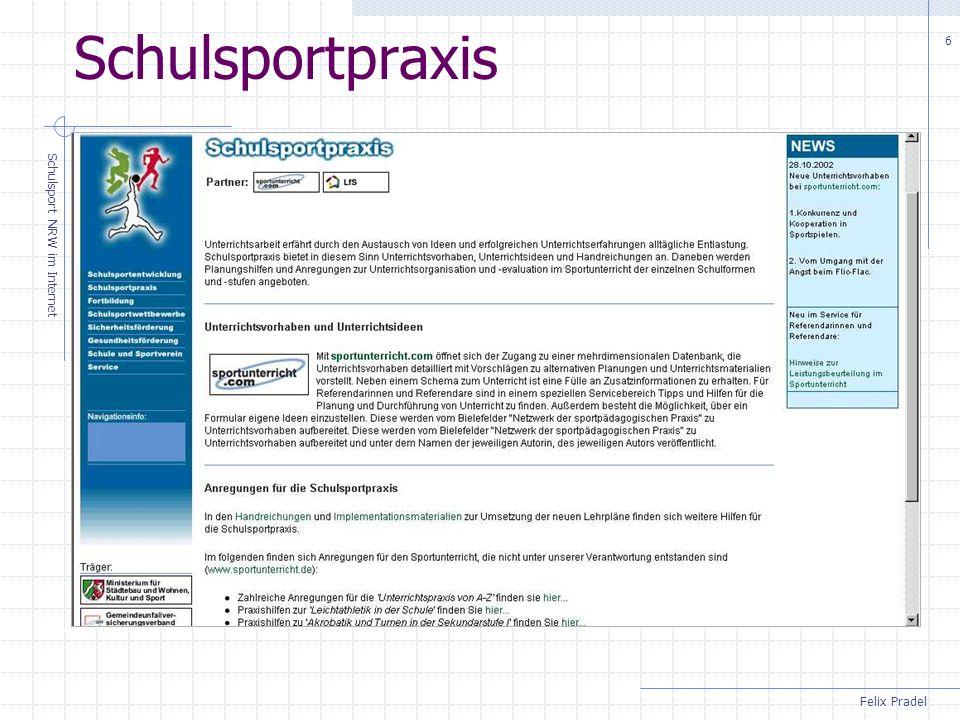 Felix Pradel Schulsport NRW im Internet 6 Schulsportpraxis