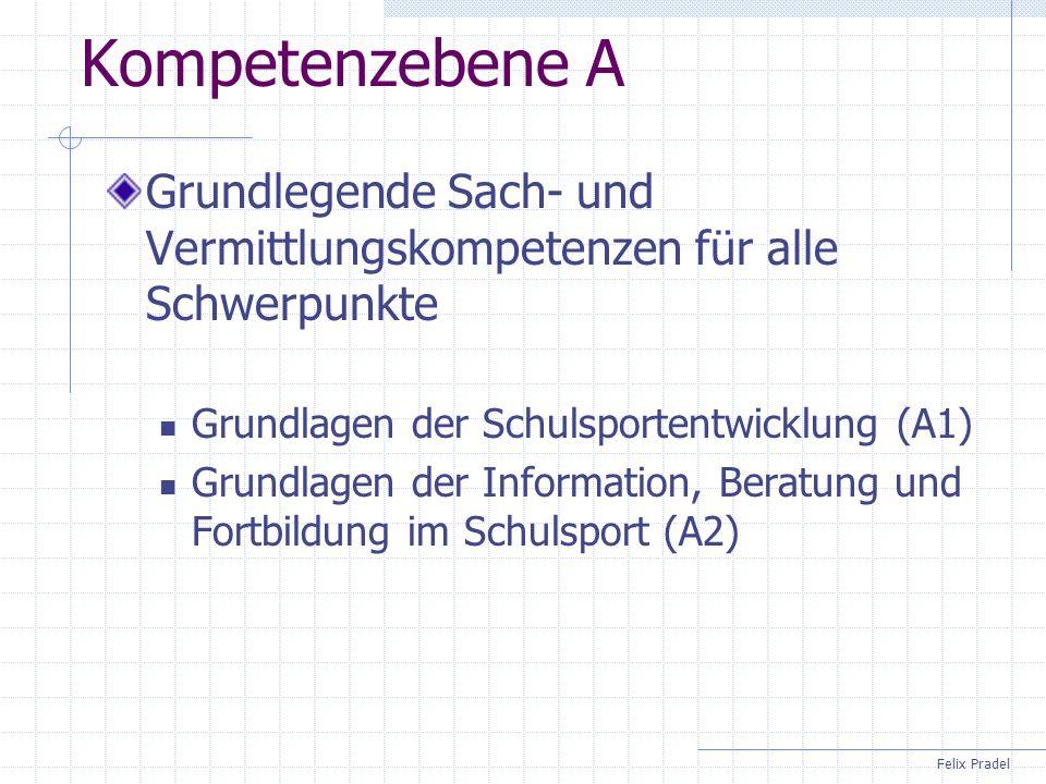Felix Pradel Kompetenzebene B Grundlegende Sach- und Vermittlungskompetenzen in den obligatorischen Schwerpunkten Stärkung des Schulsports (B1) Qualitätsentwicklung im Schulsport (B2) Erschließung und Ausgestaltung des Schulsportportals (B3)