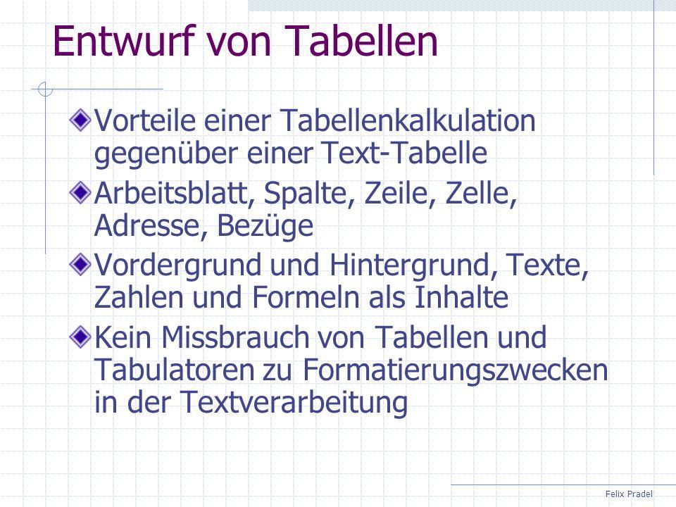 Felix Pradel Entwurf von Tabellen Vorteile einer Tabellenkalkulation gegenüber einer Text-Tabelle Arbeitsblatt, Spalte, Zeile, Zelle, Adresse, Bezüge