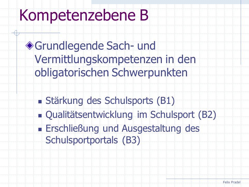 Felix Pradel Kompetenzebene B Grundlegende Sach- und Vermittlungskompetenzen in den obligatorischen Schwerpunkten Stärkung des Schulsports (B1) Qualit