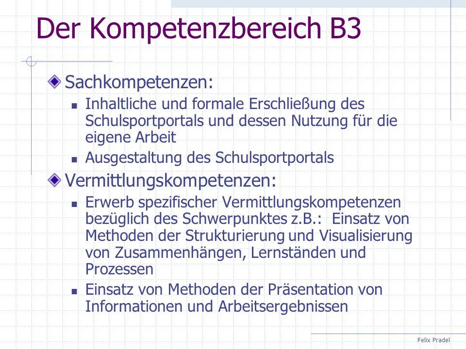 Felix Pradel Der Kompetenzbereich B3 Sachkompetenzen: Inhaltliche und formale Erschließung des Schulsportportals und dessen Nutzung für die eigene Arb