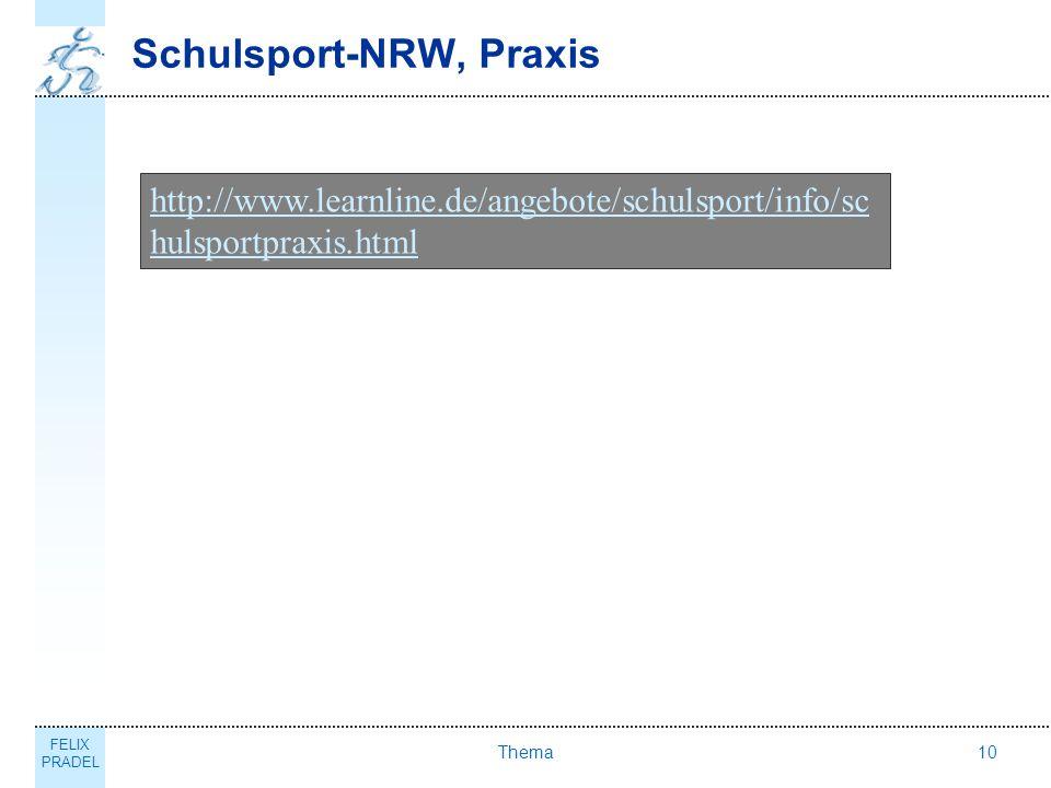 FELIX PRADEL Thema10 Schulsport-NRW, Praxis http://www.learnline.de/angebote/schulsport/info/sc hulsportpraxis.html