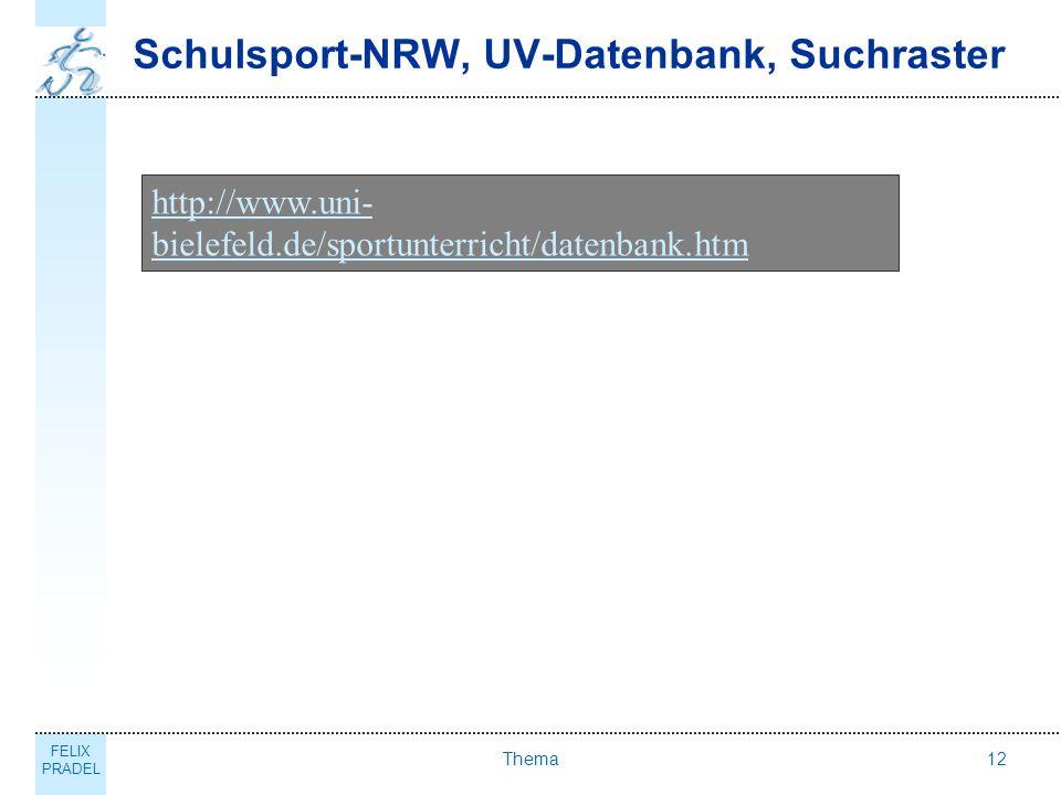 FELIX PRADEL Thema12 Schulsport-NRW, UV-Datenbank, Suchraster http://www.uni- bielefeld.de/sportunterricht/datenbank.htm