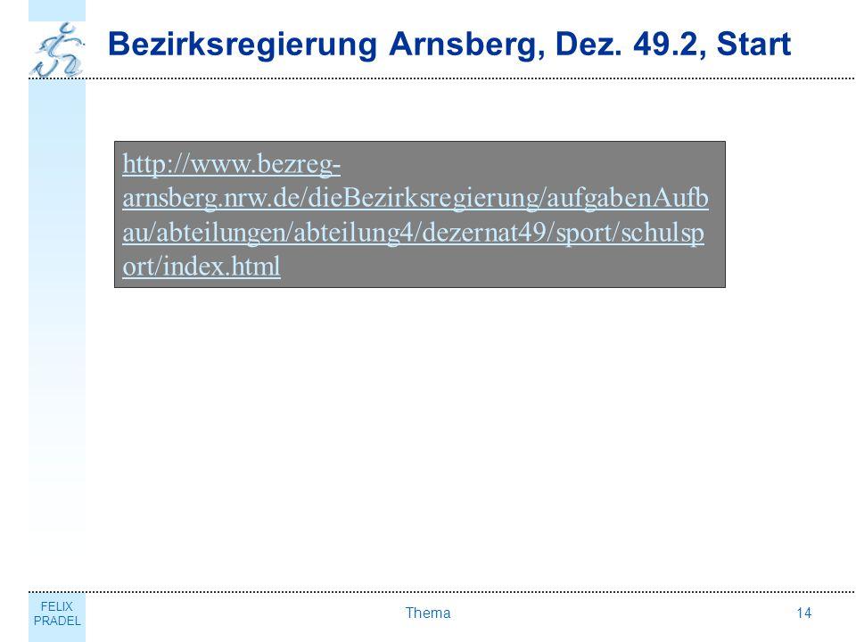FELIX PRADEL Thema14 Bezirksregierung Arnsberg, Dez. 49.2, Start http://www.bezreg- arnsberg.nrw.de/dieBezirksregierung/aufgabenAufb au/abteilungen/ab