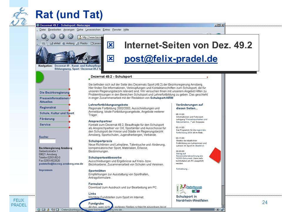FELIX PRADEL Thema24 Rat (und Tat) Internet-Seiten von Dez. 49.2 post@felix-pradel.de