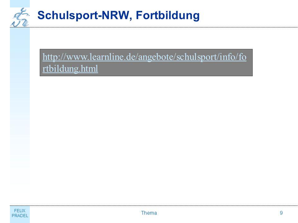 FELIX PRADEL Thema9 Schulsport-NRW, Fortbildung http://www.learnline.de/angebote/schulsport/info/fo rtbildung.html