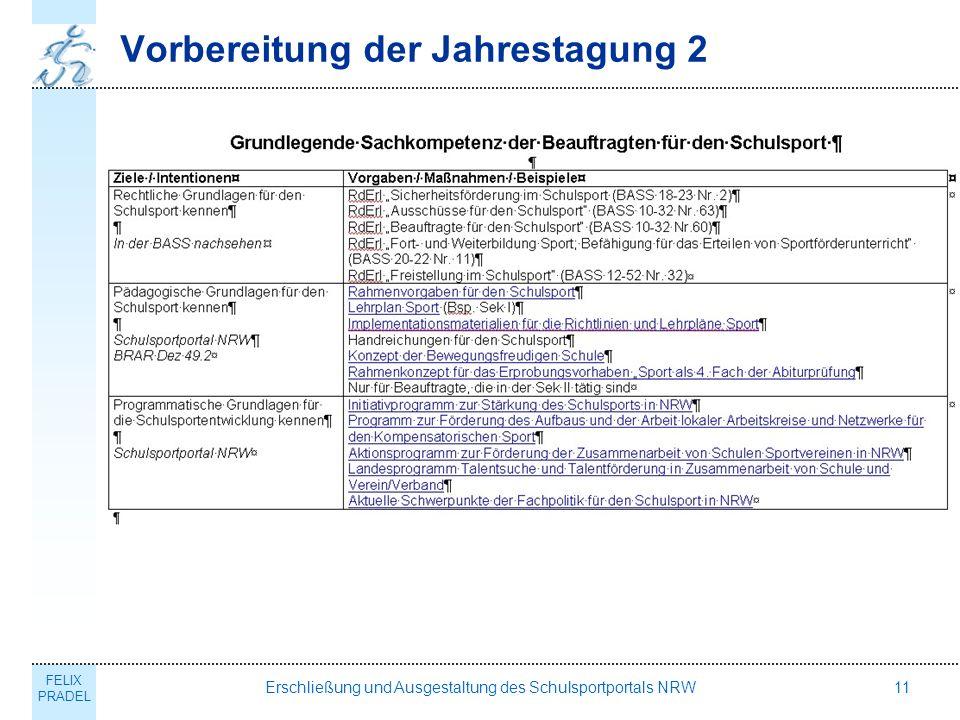 FELIX PRADEL Erschließung und Ausgestaltung des Schulsportportals NRW11 Vorbereitung der Jahrestagung 2