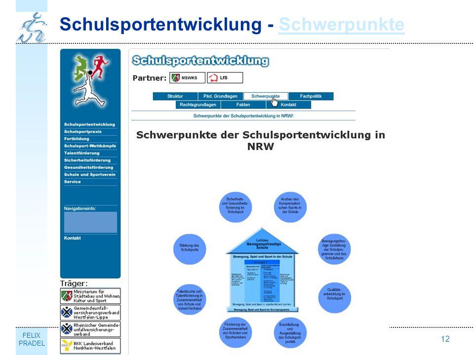 FELIX PRADEL Erschließung und Ausgestaltung des Schulsportportals NRW12 Schulsportentwicklung - SchwerpunkteSchwerpunkte