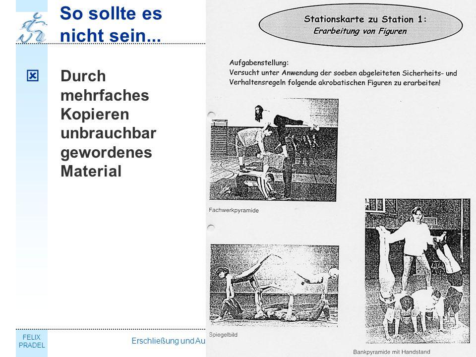FELIX PRADEL Erschließung und Ausgestaltung des Schulsportportals NRW14 So sollte es nicht sein...