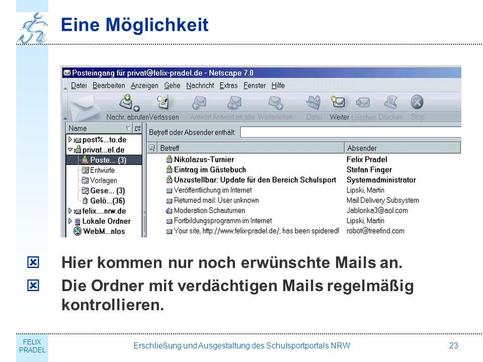 FELIX PRADEL Erschließung und Ausgestaltung des Schulsportportals NRW23 Eine Möglichkeit Hier kommen nur noch erwünschte Mails an.