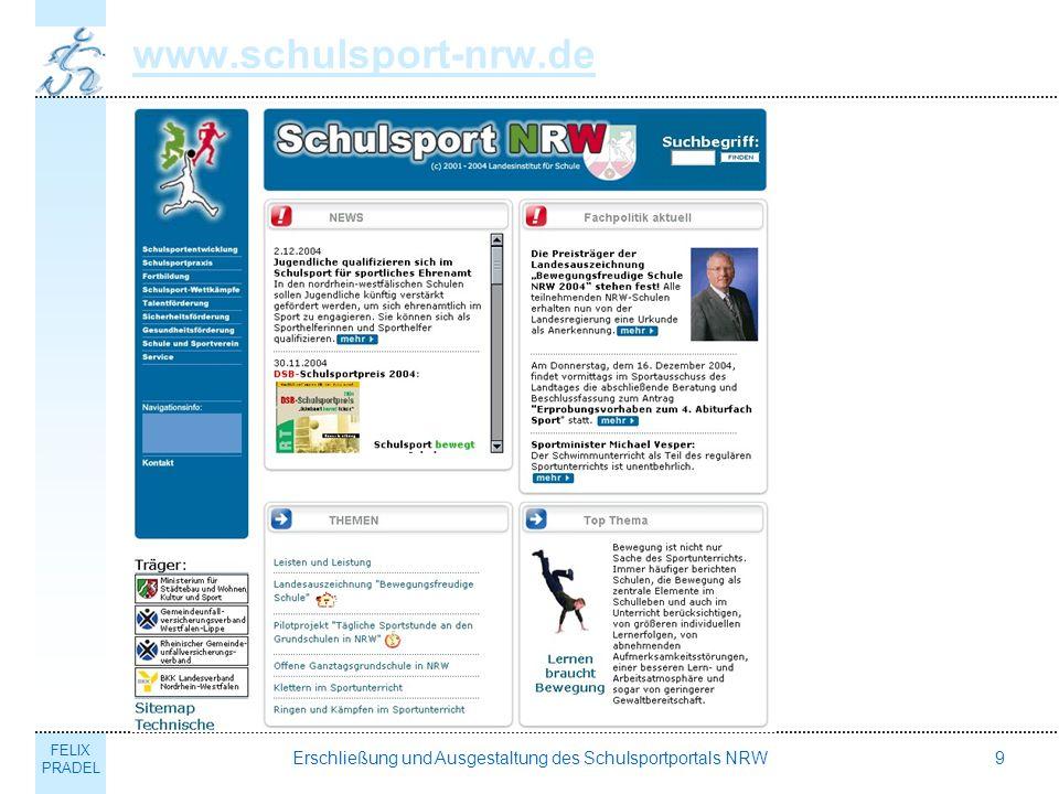 FELIX PRADEL Erschließung und Ausgestaltung des Schulsportportals NRW9 www.schulsport-nrw.de