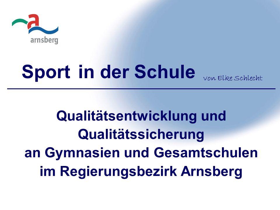 Sport in der Schule Qualitätsentwicklung und Qualitätssicherung an Gymnasien und Gesamtschulen im Regierungsbezirk Arnsberg von Elke Schlecht