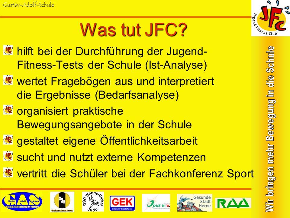 Gustav-Adolf-Schule Was ist JFC? ist Ergebnis eines Unterrichtsprojekts ist Fortsetzung der Ergebnisse im außerunterrichtlichen Schulsport ist praktis