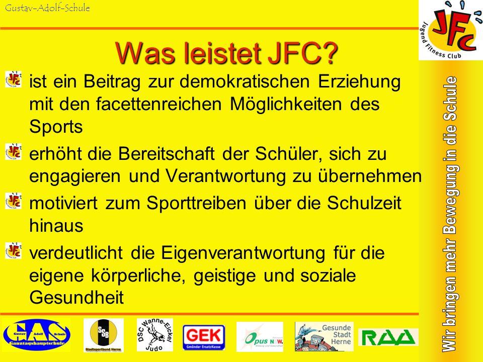 Gustav-Adolf-Schule Was tut JFC? hilft bei der Durchführung der Jugend- Fitness-Tests der Schule (Ist-Analyse) wertet Fragebögen aus und interpretiert
