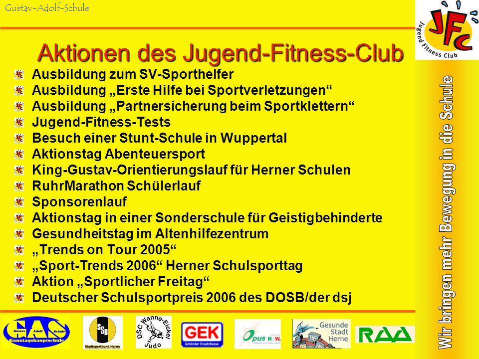 Gustav-Adolf-Schule Aktionstag in einer Schule für Geistigbehinderte Im Juli 2003 wurde ein gemeinsames Fitness- Training an der Robert- Brauner-Schule für Geistigbehinderte mit Screenings und Fitness- Test durchgeführt.