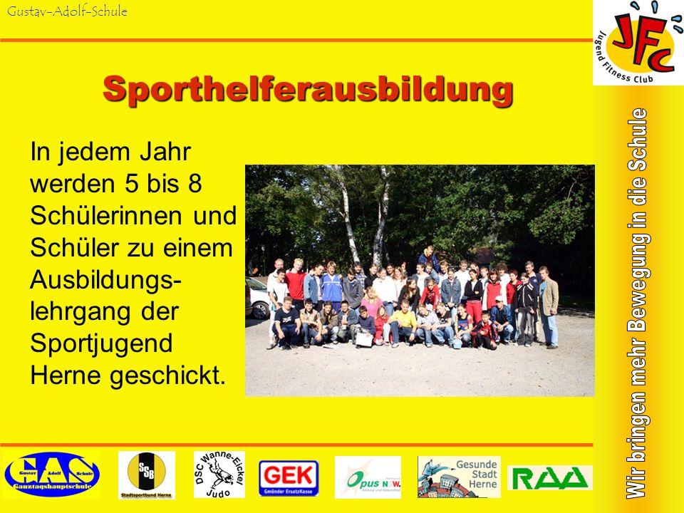 Gustav-Adolf-Schule Aktionen des Jugend-Fitness-Club Ausbildung zum SV-Sporthelfer Ausbildung Erste Hilfe bei Sportverletzungen Ausbildung Partnersich