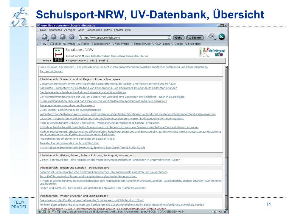 FELIX PRADEL Thema11 Schulsport-NRW, UV-Datenbank, Übersicht