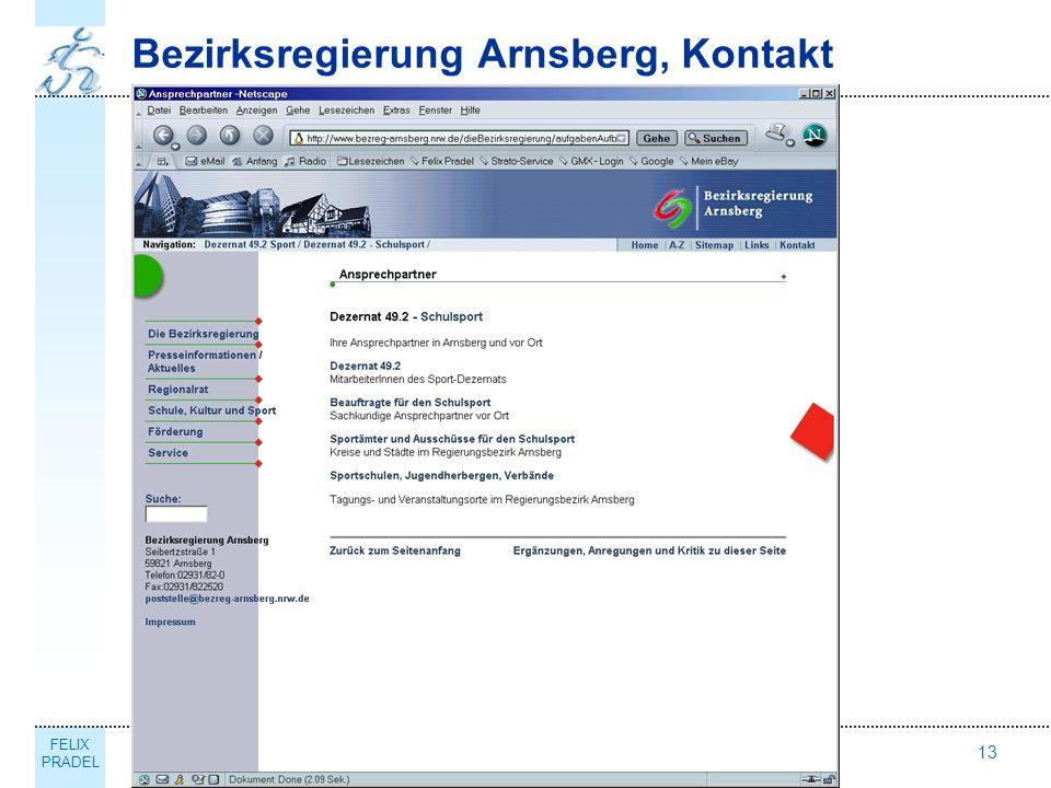 FELIX PRADEL Thema13 Bezirksregierung Arnsberg, Kontakt