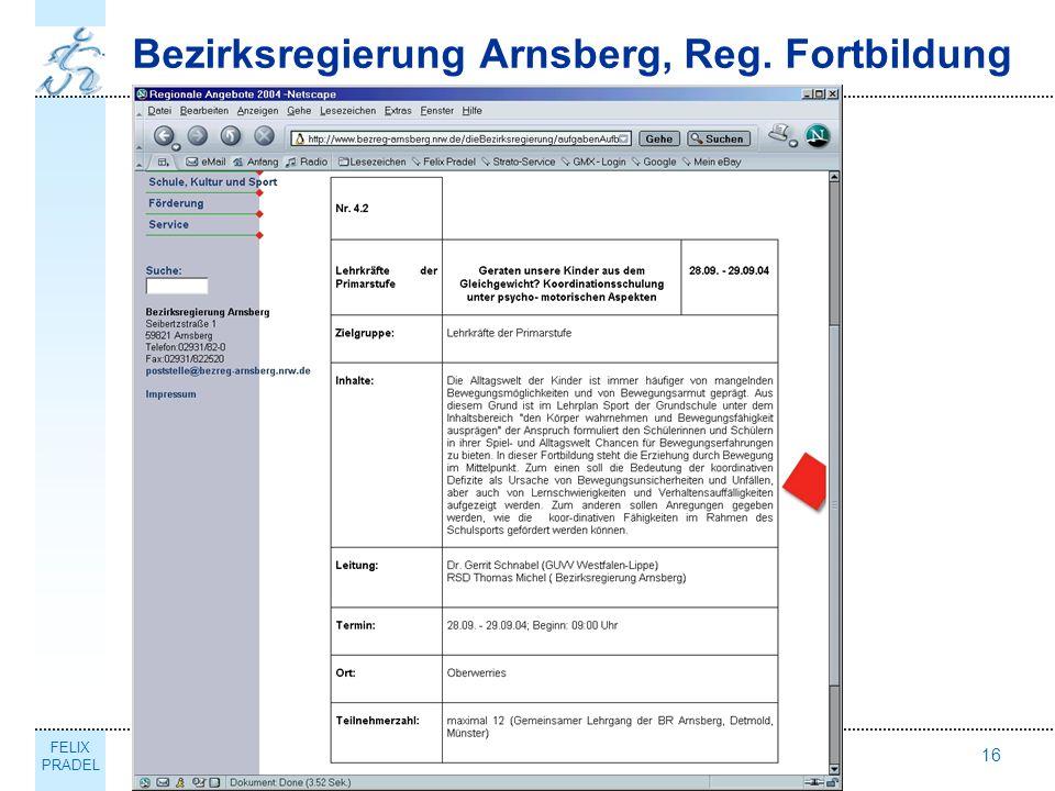 FELIX PRADEL Thema16 Bezirksregierung Arnsberg, Reg. Fortbildung