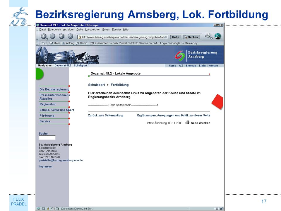 FELIX PRADEL Thema17 Bezirksregierung Arnsberg, Lok. Fortbildung